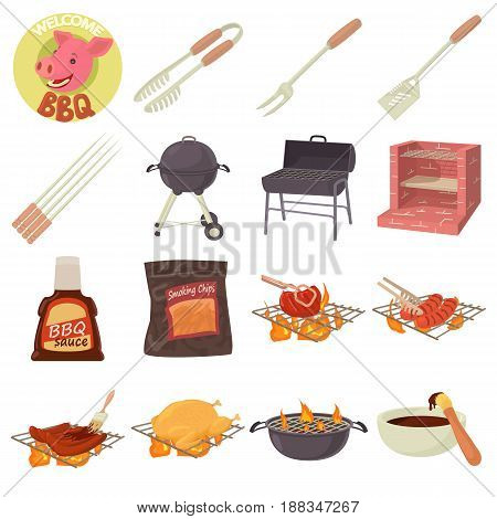 Barbecue tools icons set. Cartoon illustration of 16 barbecue tools vector icons for web
