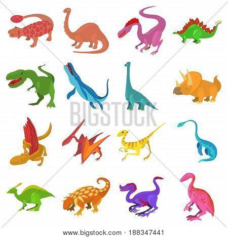 Dinosaur icons set. Cartoon illustration of 16 dinosaur types vector icons for web