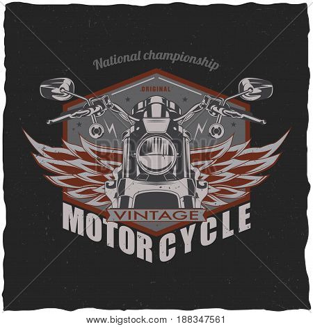 Motorcycle t-shirt label design with illustration of classic motorcycle.