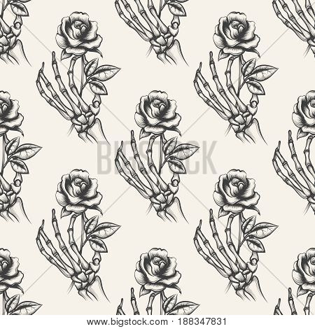 Skeleton arm sketch with rose vector seamless pattern. Background with hand drawn bones hand an flower