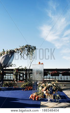 Wedding reception area in the restaurant in the open air