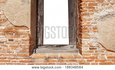 Mockup of blank clear frame template ancient brick door and window for poster announcement