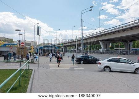 MOSCOW RUSSIA - May 27 2017: Metro VDNKh is a Moscow Metro station in Ostankinsky District North-Eastern Administrative Okrug Moscow Russia