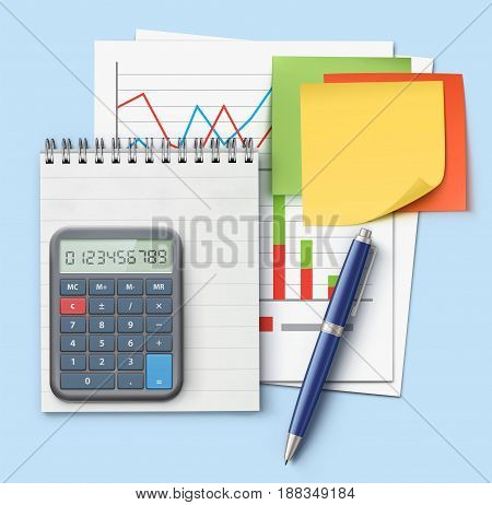 Vector illustration of business concept with finance graphs productivity chart blue ballpoint pen coil bound notebook electronic calculator and multicolor post it notes