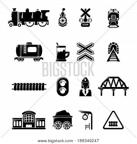 Train railroad icons set. Simple illustration of 16 train railroad vector icons for web