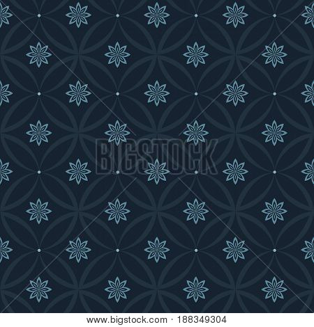 Modern stylish floral flower pattern for textile wallpaper pattern fills covers surface print gift wrap scrapbooking decoupage Seamless dark blue abstract classic pattern