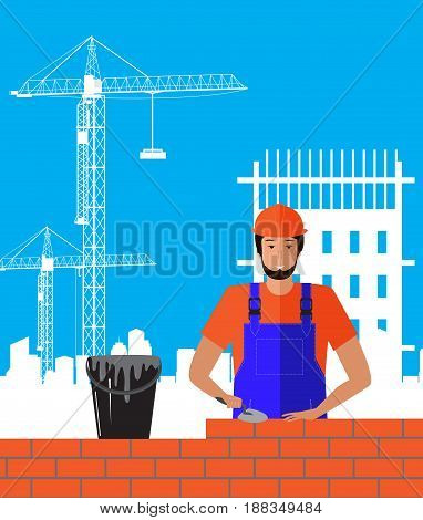 Builder builds brick wall of house. Worker or masonry, work with trowel, man in helmet.