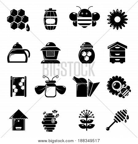Apiary honey icons set. Simple illustration of 16 apiary honey vector icons for web