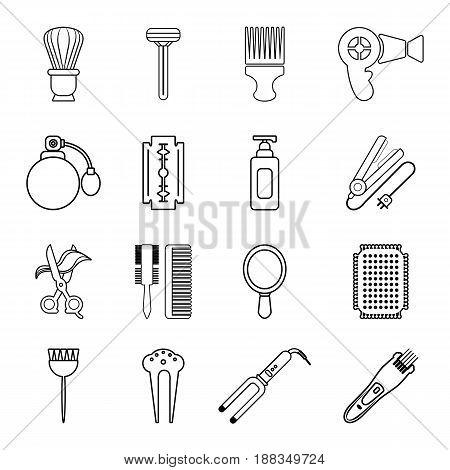 Hairdresser icons set. Outline illustration of 16 hairdresser vector icons for web