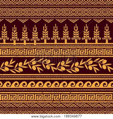 Seamless pattern with olives, wheat, and greek symbols. Rich anchient stylized ornament.