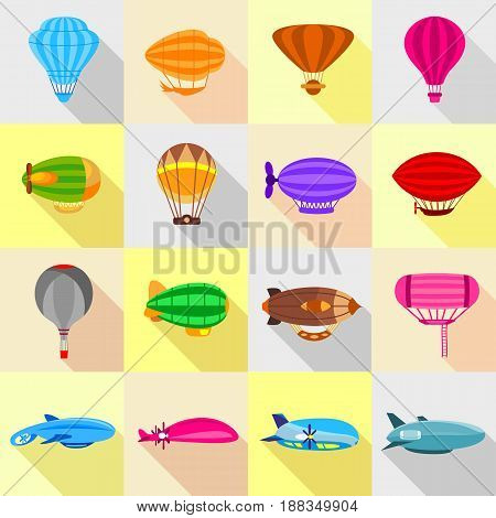 Airship balloons icons set. Flat illustration of 16 airship balloons vector icons for web