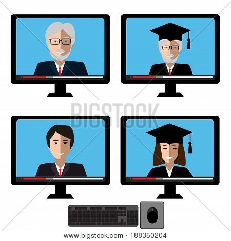 Vector set with teachers fases on computer screen. Design elements for business or education concept