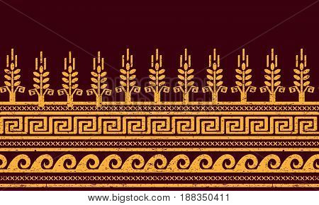 Ethnic seamless pattern with wheat, meander, and water symbols