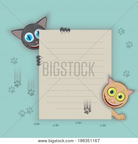 Vector illustration of two cats sending a letter