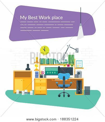 Flat Workplace with two monitors for a web designer or developers