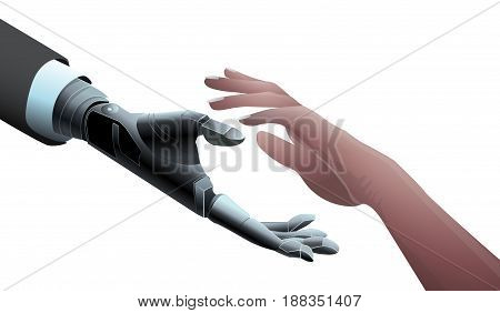 Businessman Robot Mechanical Hand giving hand to Human. Offer, Deal, Partnership concept. Artificial Intelligence Future Technology isolated vector. Transparent.
