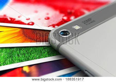 3D render illustration of the macro view of camera lens of modern black glossy touchscreen smartphone or mobile phone and group of color pictures or photos with selective focus effect