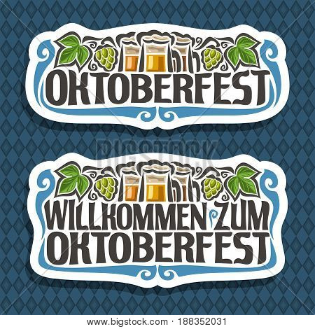 Vector logo for Oktoberfest on blue diamond background: beer in 3 glass mugs, lettering title - oktoberfest, green leaf hops, text - willkommen zum, oktoberfest label on repeat rhombus texture pattern