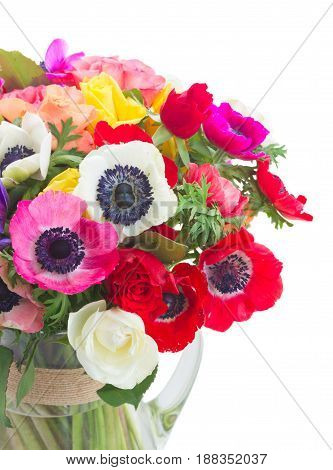 Fresh colorful Anemones and roses flowers close up bouqet in vase isolated on white background