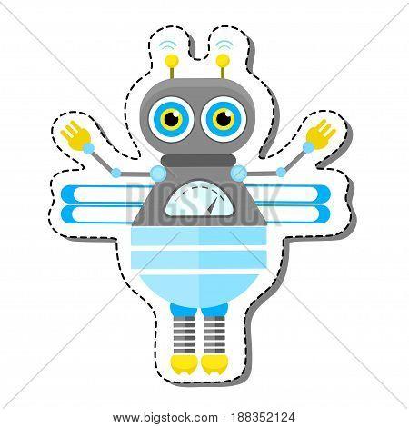 Blue Friendly Cartoon Bee Robot Character. Isolated vector robot sticker.