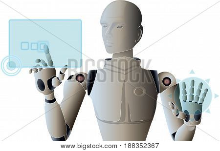 Robot managing and operating virtual hud screen interface. Sci-Fi Touchscreen Artificial Intelligence Future Technology isolated vector. Transparent.