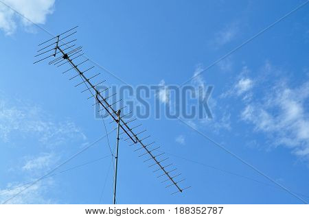 Texture of the antenna with blue sky.
