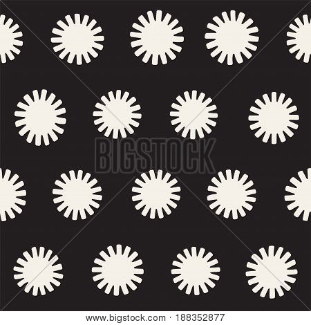 Vector Seamless Sunburst Shapes Freehand Pattern. Abstract Background With Round Brush Strokes. Hand