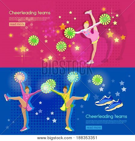 Cheerleading team banners school sports championship pom poms cheerleader girl vector