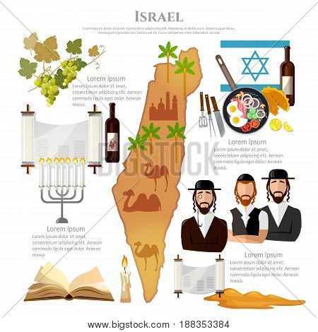 Israel tradition and culture. Travel vacation to Israel attractions culture people map Israel. Infographic template design