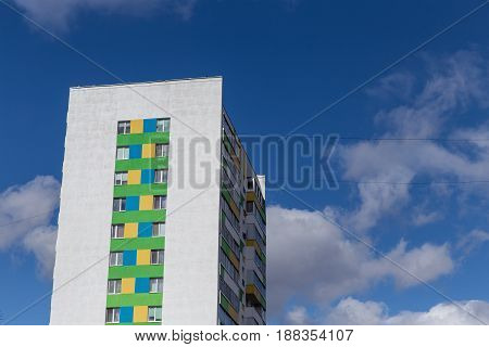 Modern And New Apartment Building On Blue Sky And сlouds. Multistoried, Modern, New And Stylish Livi