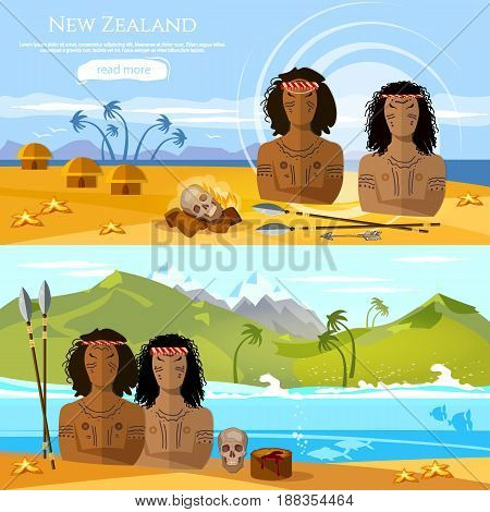 New Zealand banners. People of Maori tradition and culture New Zealand. Mountains and beach landscape natives. Village of aboriginals Maori of New Zealand