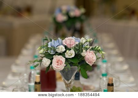 Wedding Table Decor With Flowers And Plates