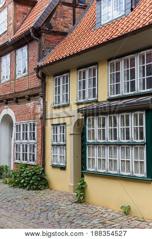 Colorful Houses In The Historic Center Of Luneburg