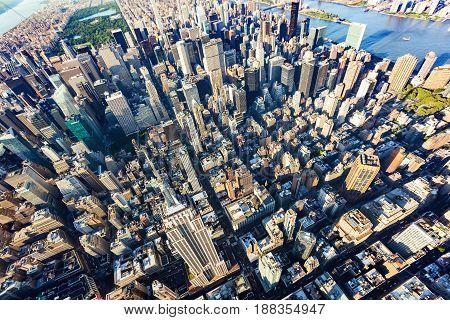 Aerial View Of Midtown Manhattan New York City