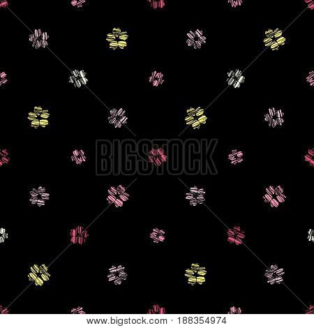 Scratched sakura flowers on the black background. Seamless pattern. Simple abstract texture. Pink colored grunge background. Asian motif. For wallpaper, web page or printing on fabric.