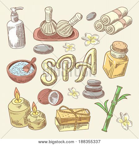 Spa and Wellness Hand Drawn Doodle with Lotus, Candle and Stones. Skin Care. Vector illustration