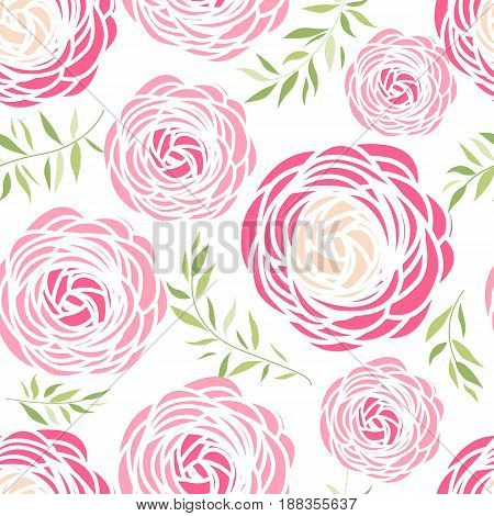 Vector illustration of ranunculus flower. Seamless pattern with pink flowers