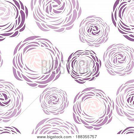 Vector illustration of ranunculus flower. Seamless pattern with purple flowers