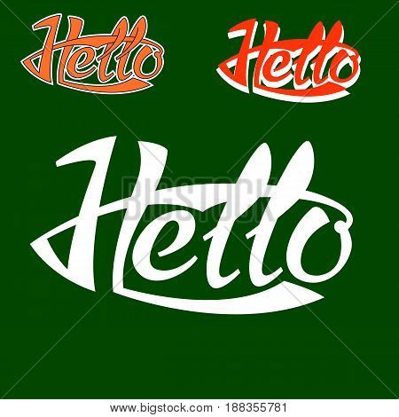 hello text phrase logo   vector lettering set