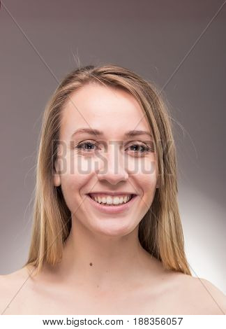 One Young Woman Portrait, Shirtless Head Face Headshot