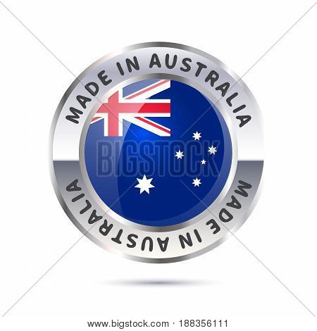 Glossy metal badge icon made in Australia with flag