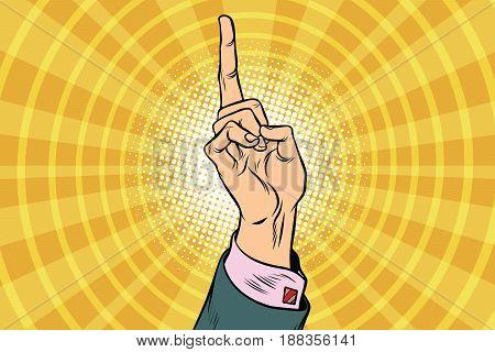 index finger up. Business concept. Pop art retro vector illustration