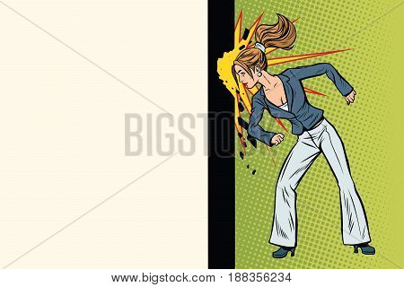 Businesswoman punches the wall with his head. Pop art retro vector illustration