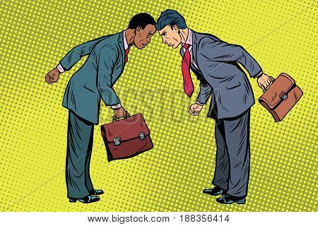 black and white businessman in conflict. Racial discrimination, social issues and politics. Pop art retro vector illustration