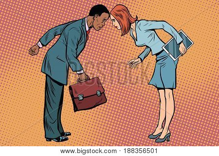 Two businessman in conflict. Racial and sexual discrimination. Pop art retro vector illustration