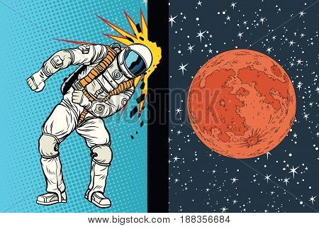Cosmonaut knocks head on the wall. A dream to be on Mars. Pop art retro vector illustration