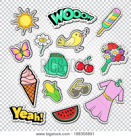 Teenager Girl Fashion Stickers, Badges and Patches. Girlish Doodle with Clothes, Ice Cream and Bird. Vector illustration