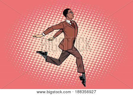 Elegant businessman runs forward. African American people. Pop art retro vector illustration