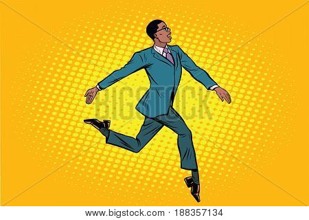 African businessman runs forward elegantly. Pop art retro vector illustration