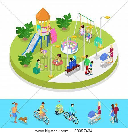 Isometric City Park Composition with Children Playground and Walking People. Outdoor Activity. Vector flat 3d illustration